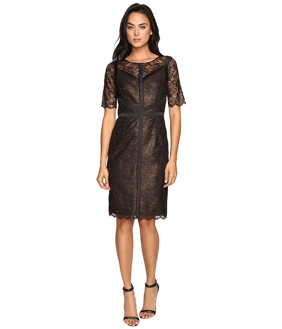 NUE by Shani Lace Dress with Black Piping Detail (Copper) Women