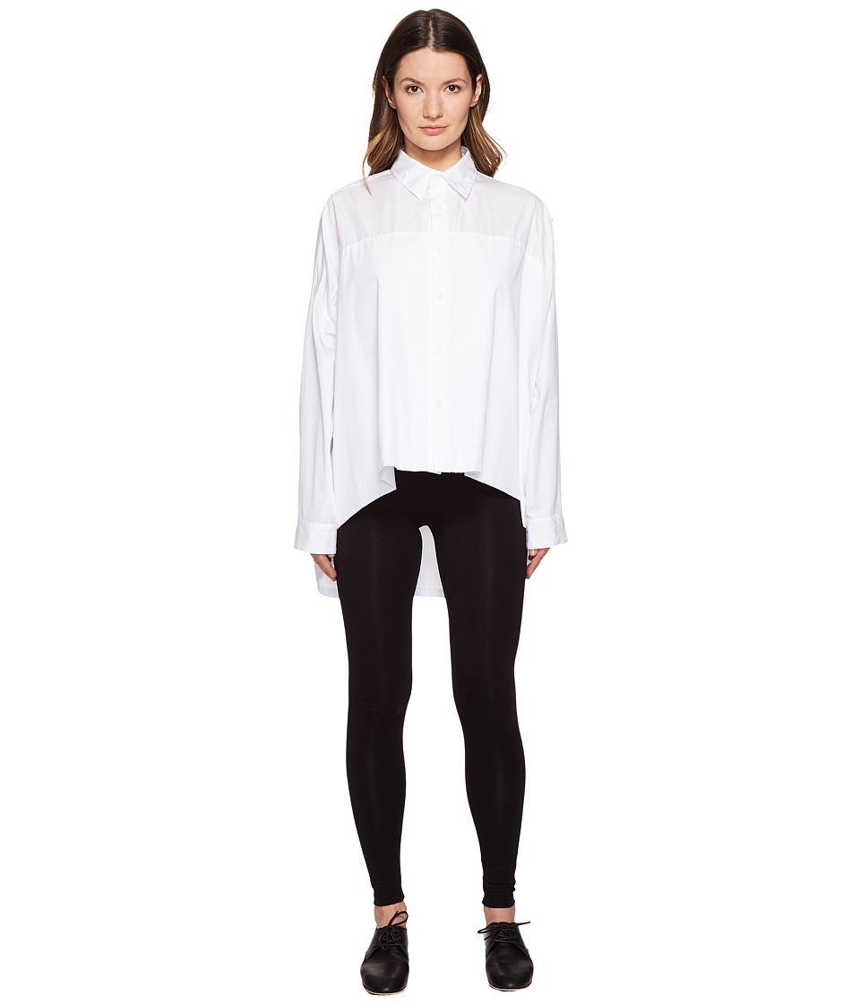 Y's by Yohji Yamamoto - Double Big Button Up Long Sleeve Woven (White) Women's Long Sleeve Button Up