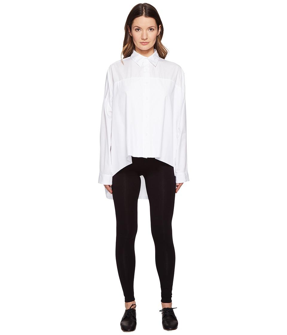Y's by Yohji Yamamoto - Double Big Button Up Long Sleeve Woven (White) Women's Long Sleeve Button Up