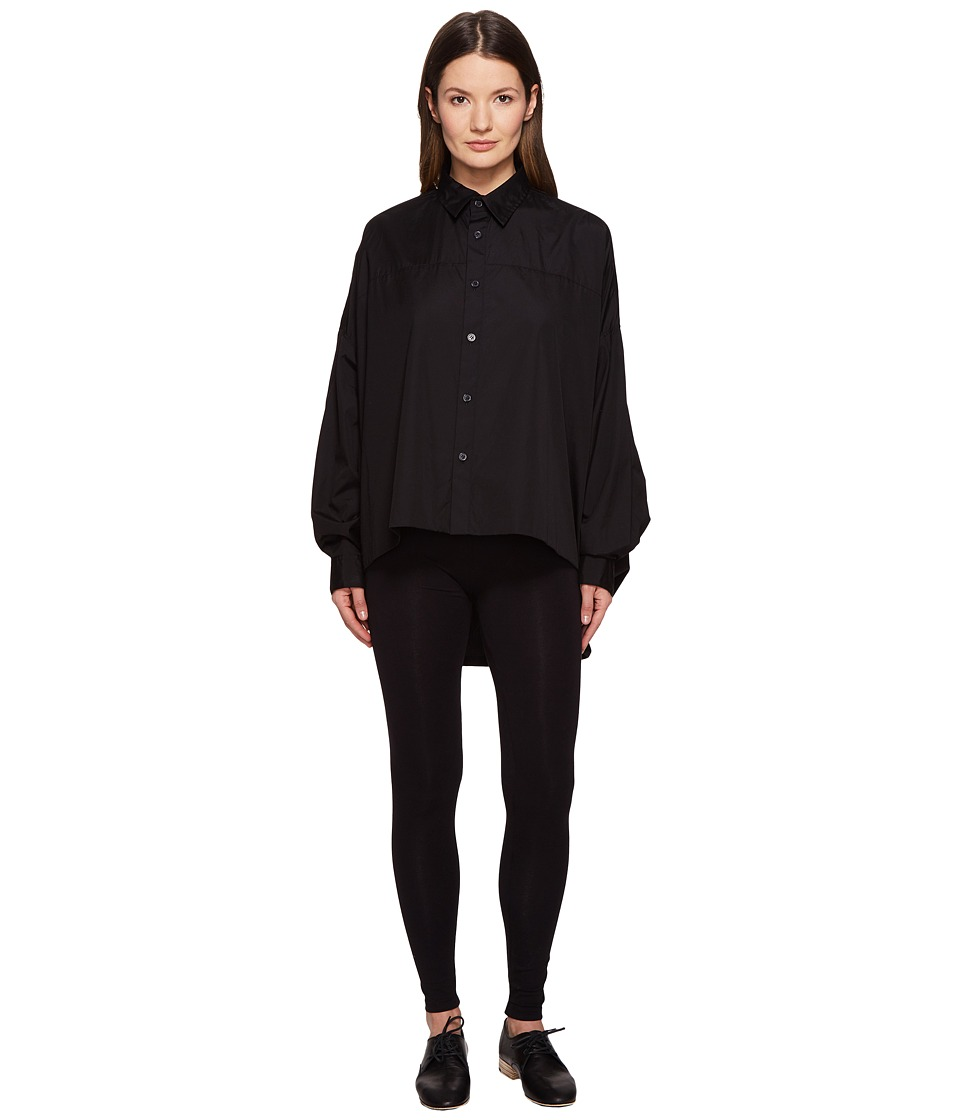 Y's by Yohji Yamamoto - Double Big Button Up Long Sleeve Woven (Black) Women's Long Sleeve Button Up