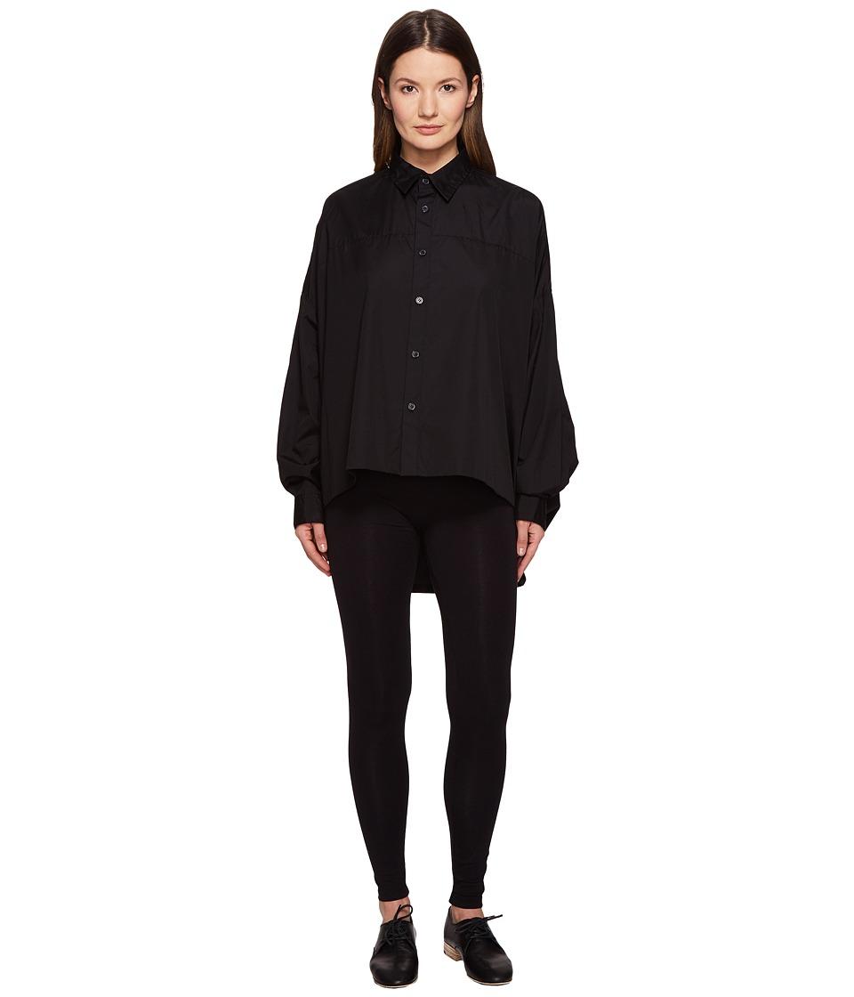 Y's by Yohji Yamamoto - Double Big Button Up Long Sleeve Woven (Black) Women's Long Sleeve Button Up