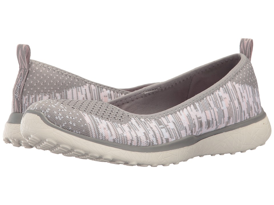 SKECHERS - Microburst - Perfect Note (Gray/Pink) Women's Slip on Shoes