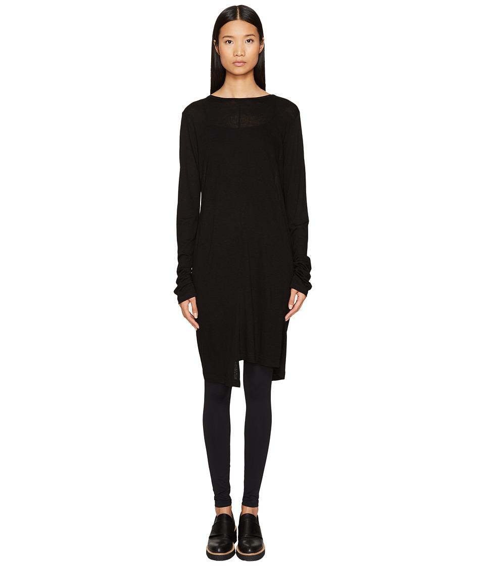 Y's by Yohji Yamamoto - U-Asymmetry Long Sleeve Pullover Tee (Black) Women's T Shirt