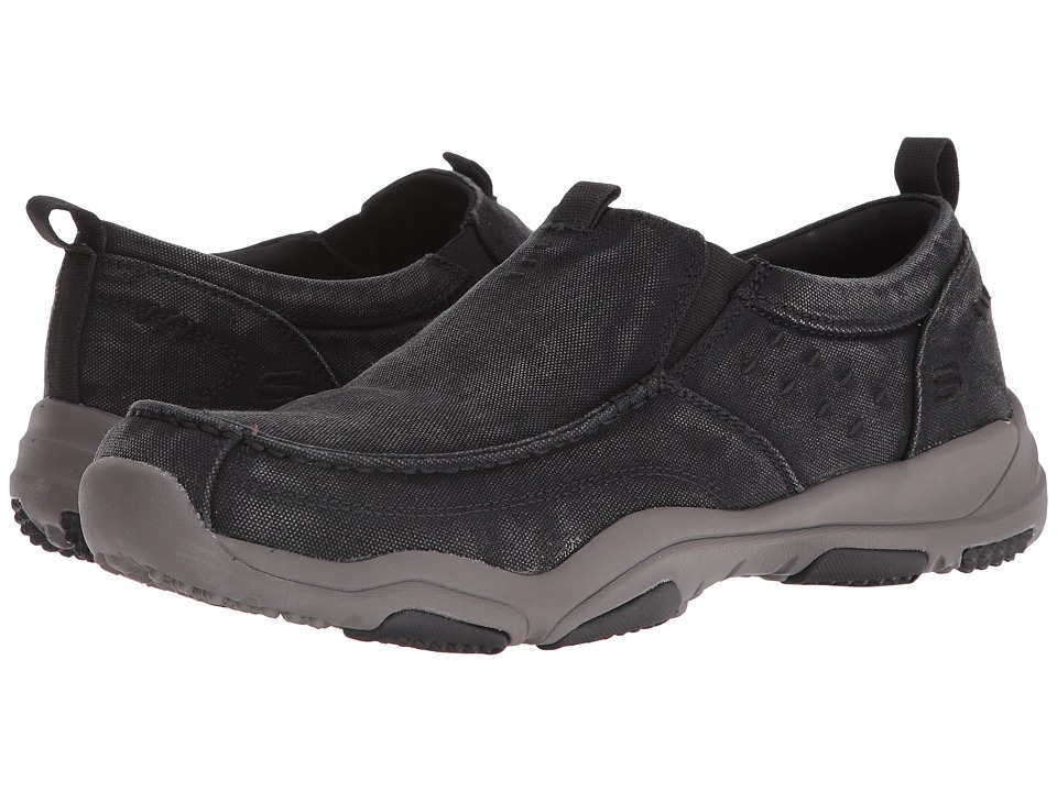SKECHERS - Classic Fit Larson - Bolton (Black Charcoal Canvas) Men's Shoes