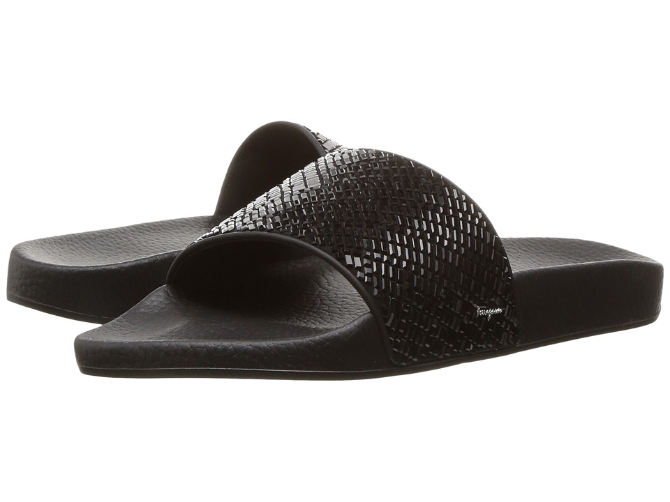Salvatore Ferragamo - PVC Pool Slide With Crystals (Jet Black) Women's Shoes