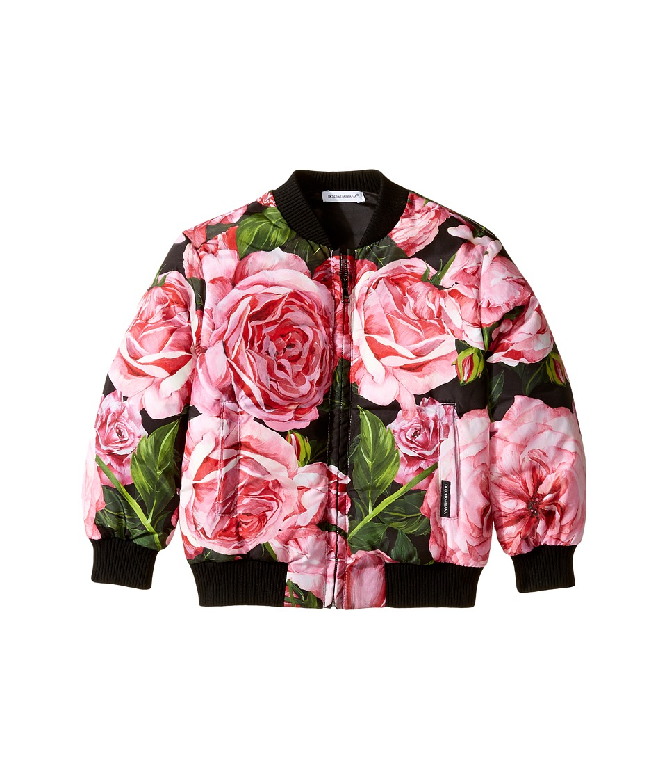 Dolce & Gabbana Kids - Rose Bomber Jacket (Toddler/Little Kids) (Black/Rose) Girl's Coat