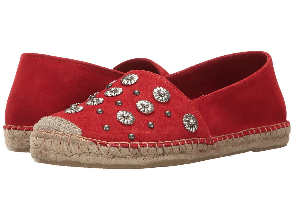 The Kooples - Classic Espadrilles in Suede with Embroidery (Red) Women's Slip on Shoes