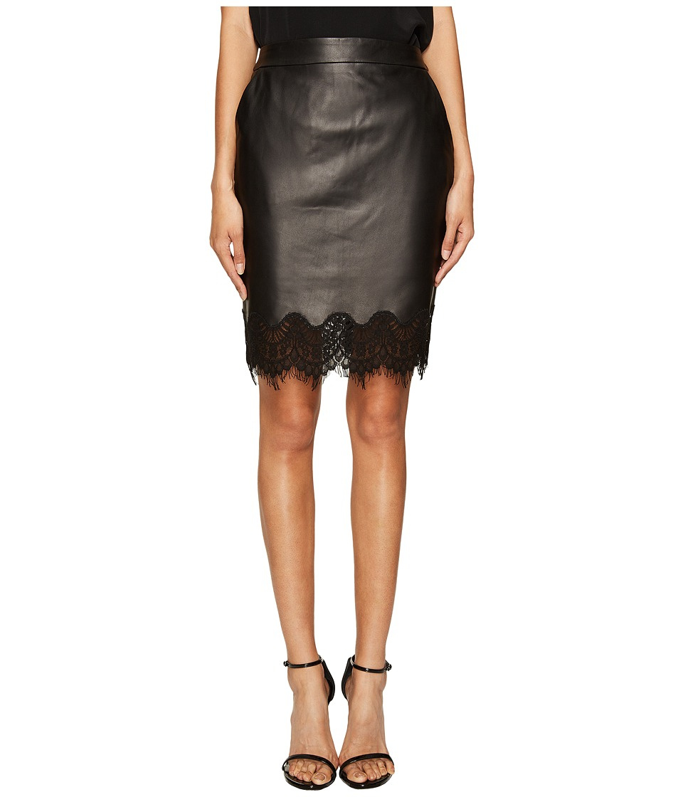 The Kooples - Lamb Skirt Lace (Black) Women's Skirt