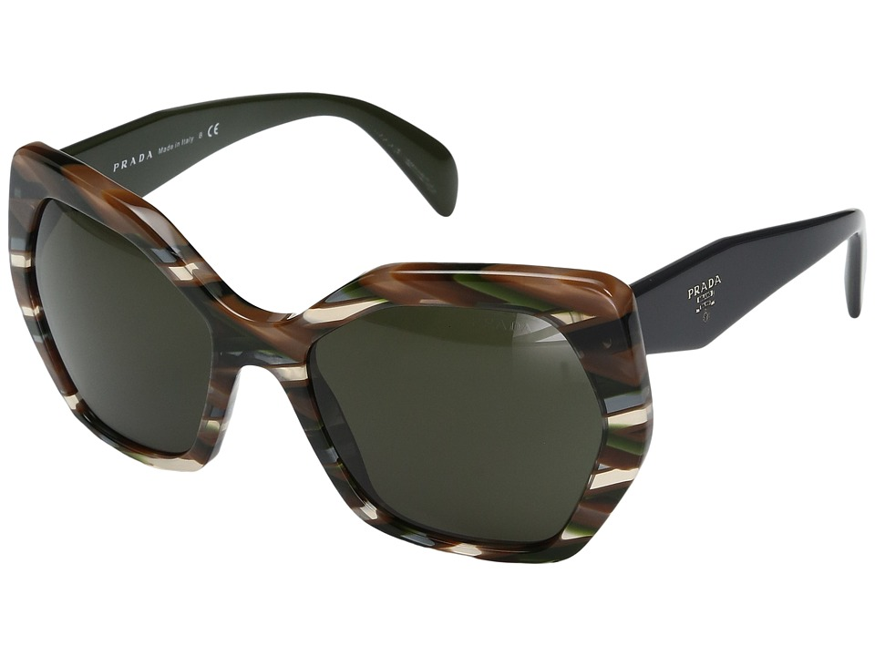 Prada - 0PR 16RS (Sheaves Grey/Brown/Dark Green) Fashion Sunglasses