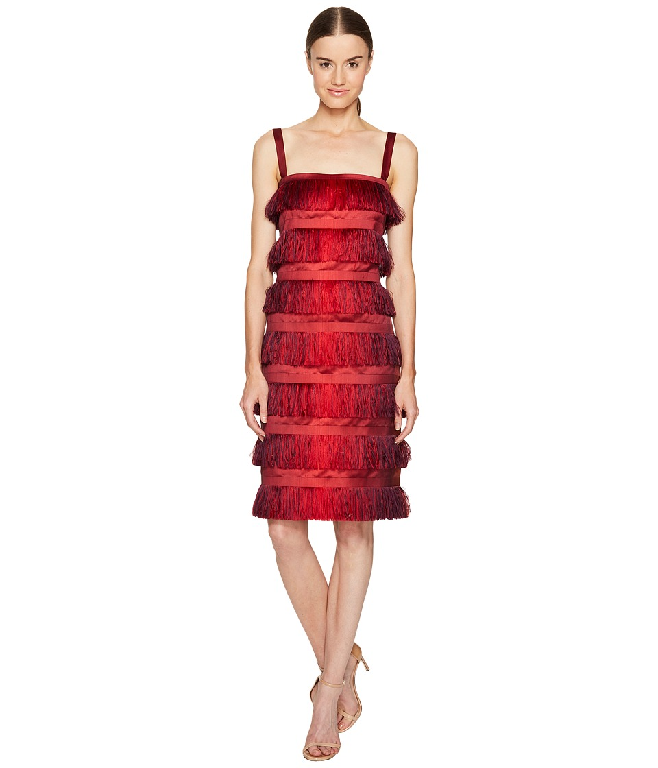 Alberta Ferretti Sleeveless Tiered Fringe Dress (Red Orange) Women