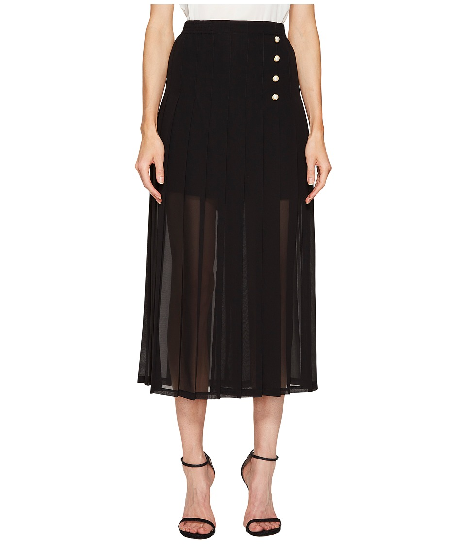 The Kooples - Jupe Longue Plissee En Polyester (Black) Women's Skirt