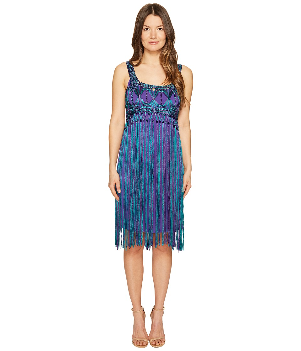 Alberta Ferretti Sleeveless Fringe Dress (Fantasy Print Violet) Women