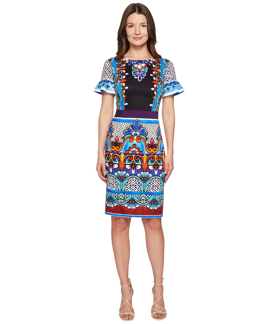 Alberta Ferretti Short Sleeve Printed Jersey Dress (White Print) Women