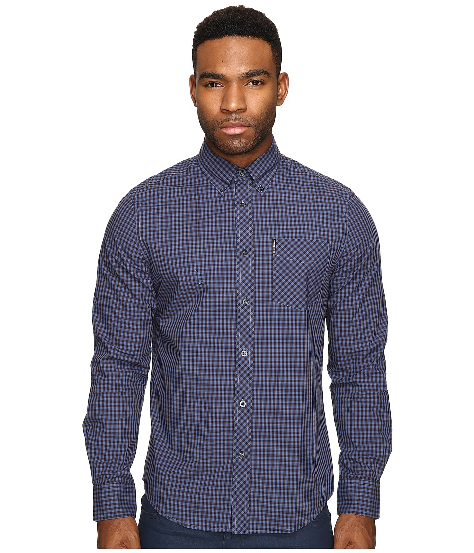 Ben Sherman - Long Sleeve Gingham Mod Shirt MA10113A (Washed Blue) Men's Long Sleeve Button Up