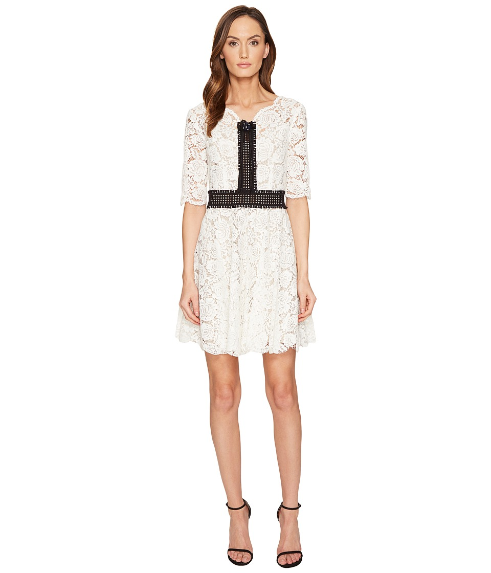 The Kooples - Robe Courte Tout En Dentelle Manches Longues Dress (Ecru) Women's Dress