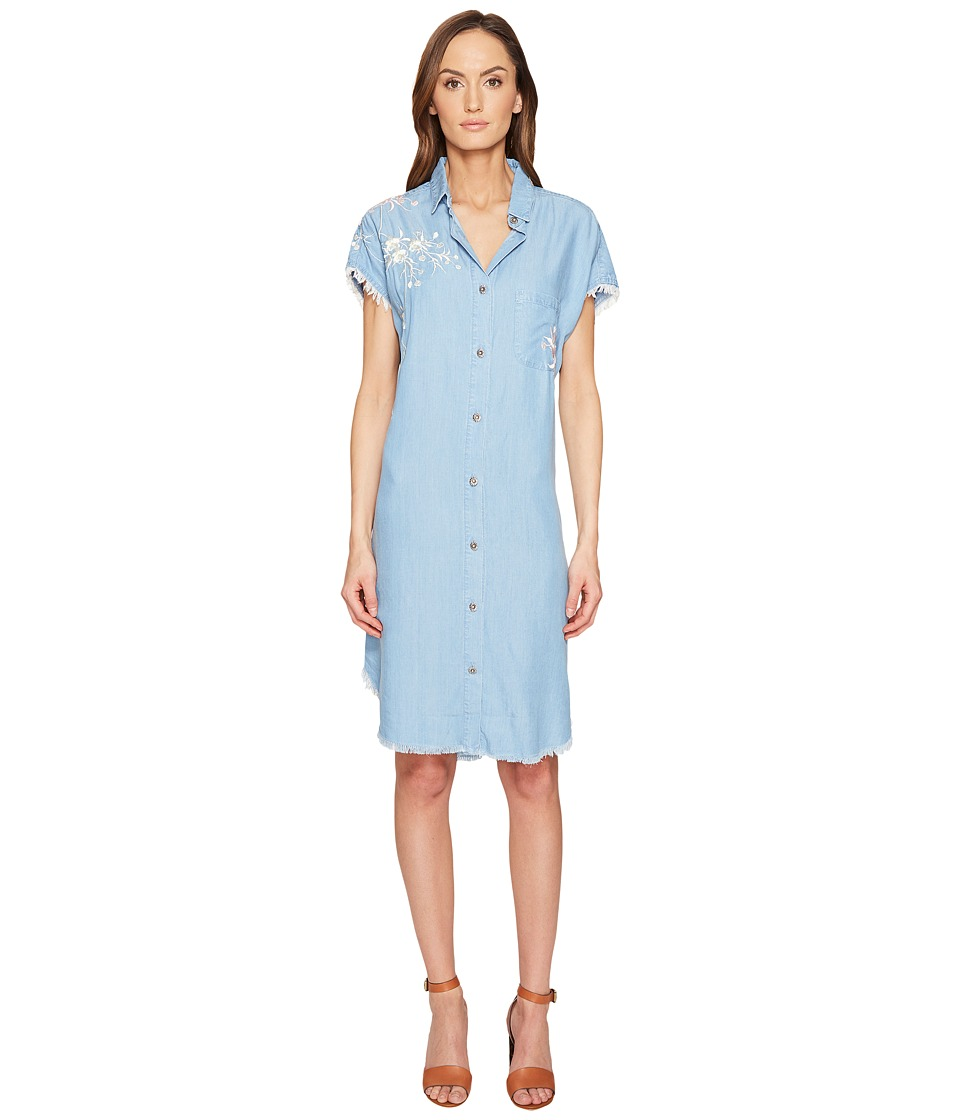 The Kooples - Robe Lyocell Avec Broderies Dress (Blue) Women's Dress