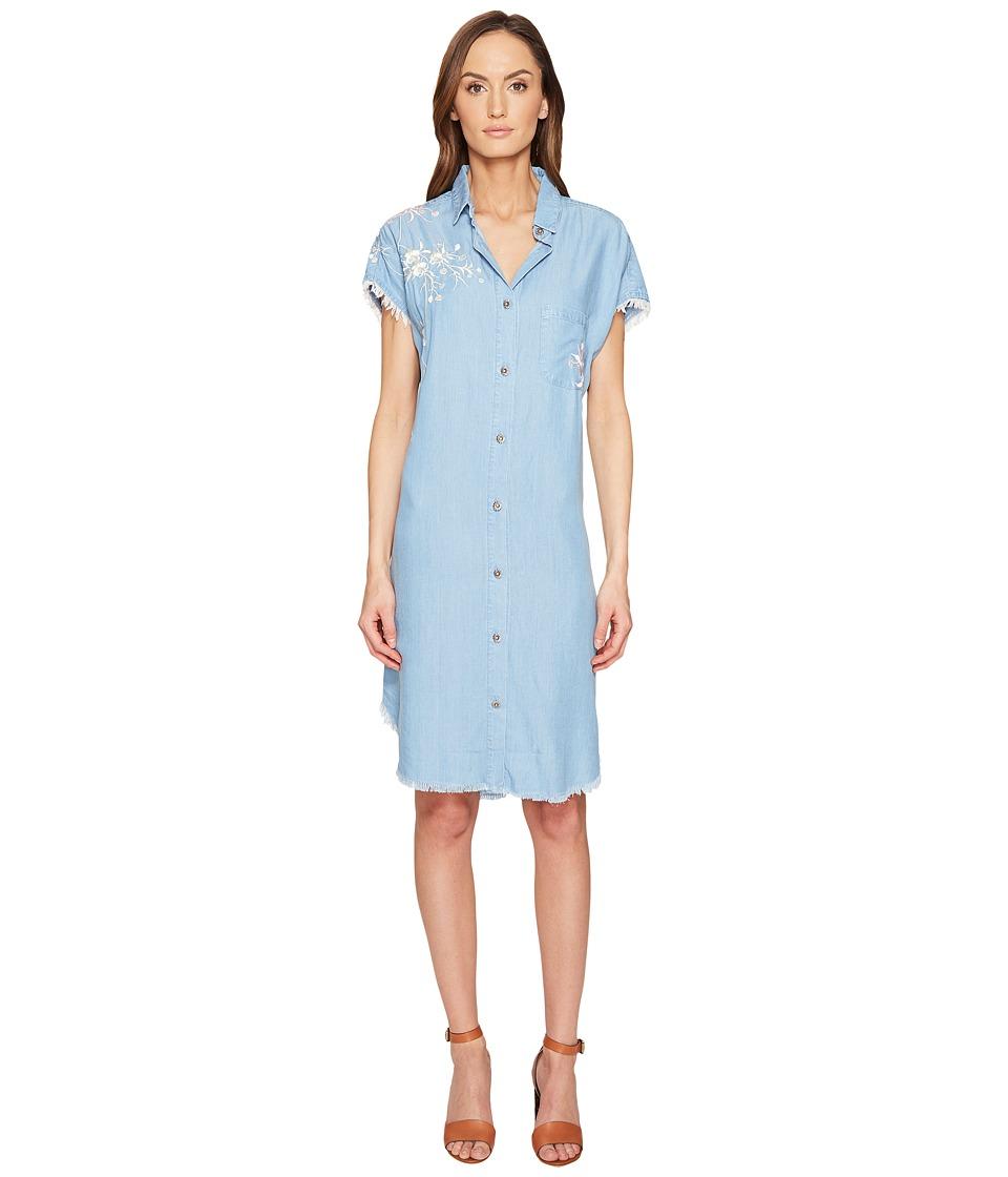 The Kooples Robe Lyocell Avec Broderies Dress (Blue) Women