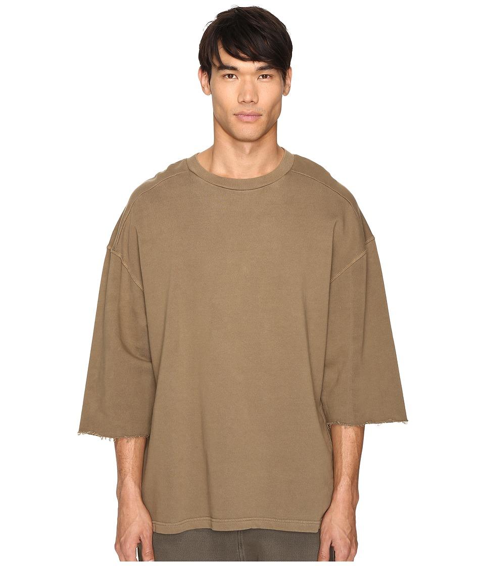 Image of adidas Originals by Kanye West YEEZY SEASON 1 - Short Sleeve Sweatshirt Tee (Fossil) Men's T Shirt