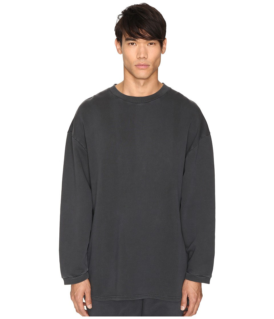 adidas Originals by Kanye West YEEZY SEASON 1 - Long Sleeve Crew Shirt (Caviar) Men's Clothing