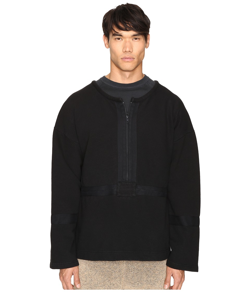 adidas Originals by Kanye West YEEZY SEASON 1 - 1/2 Zip Crew (Caviar) Men's Clothing
