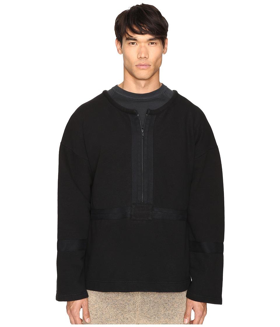 Image of adidas Originals by Kanye West YEEZY SEASON 1 - 1/2 Zip Crew (Caviar) Men's Clothing