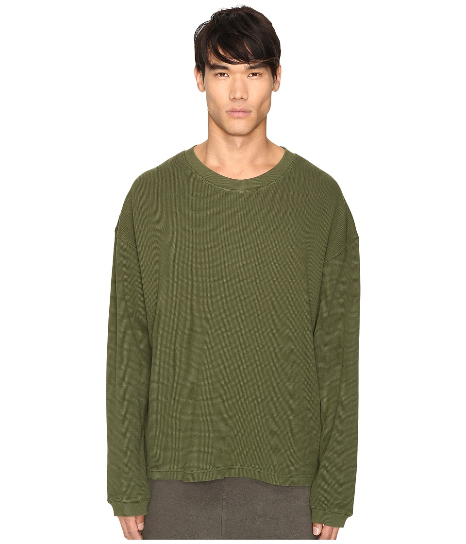 Image of adidas Originals by Kanye West YEEZY SEASON 1 - Long Sleeve Thermal Tee (Rifle Green) Men's T Shirt