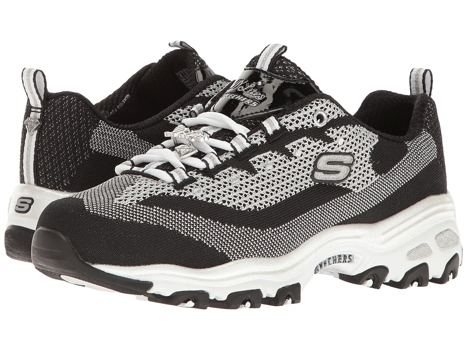 SKECHERS - D'Lites - Shiny New (Black/White) Women's Lace up casual Shoes