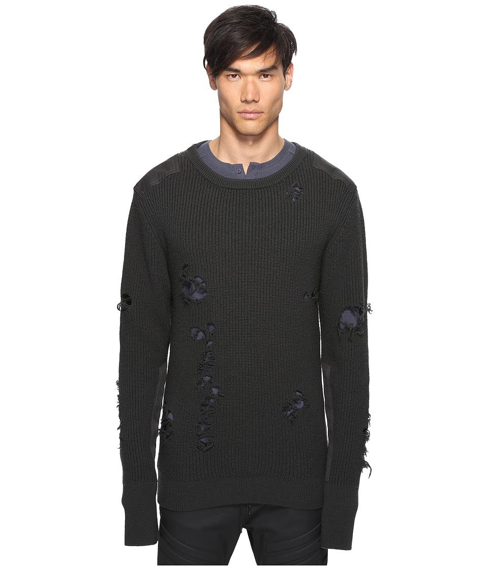 adidas Originals by Kanye West YEEZY SEASON 1 Destroyed Wool Sweater (Gunpowder) Men