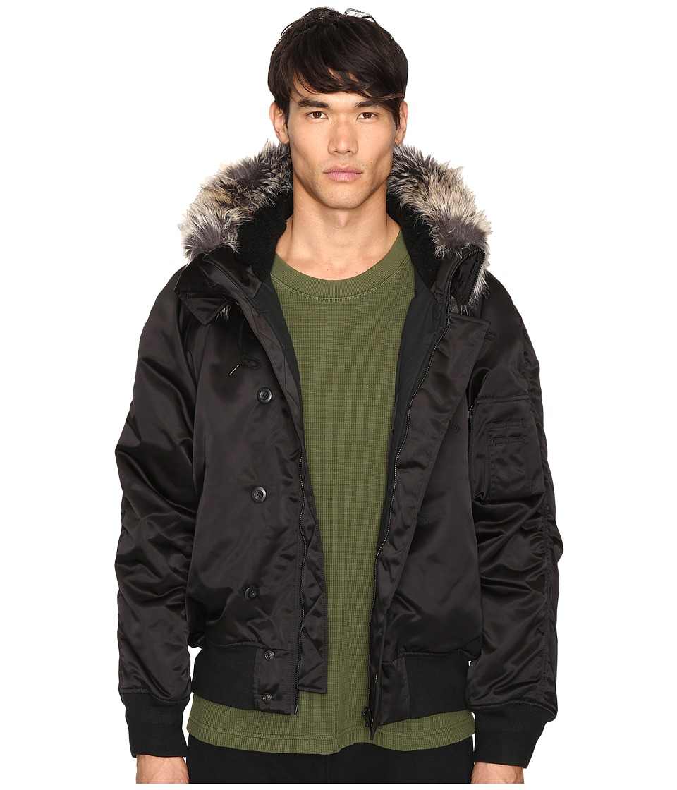 adidas Originals by Kanye West YEEZY SEASON 1 - Faux Fur Trim Bomber (Black) Men's Coat
