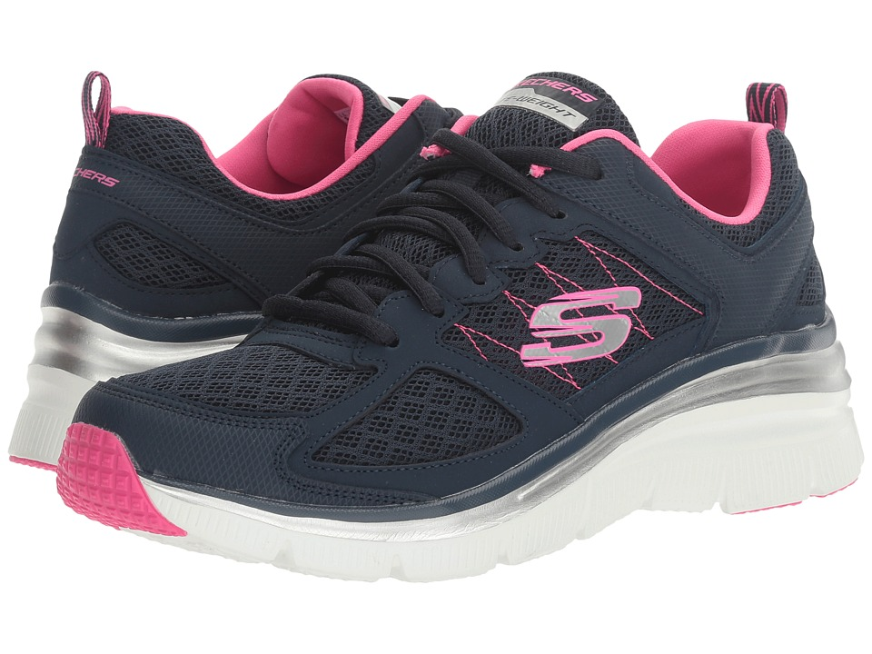 SKECHERS - Fashion Fit - Not Afraid (Navy/Hot Pink) Women's Lace up casual Shoes