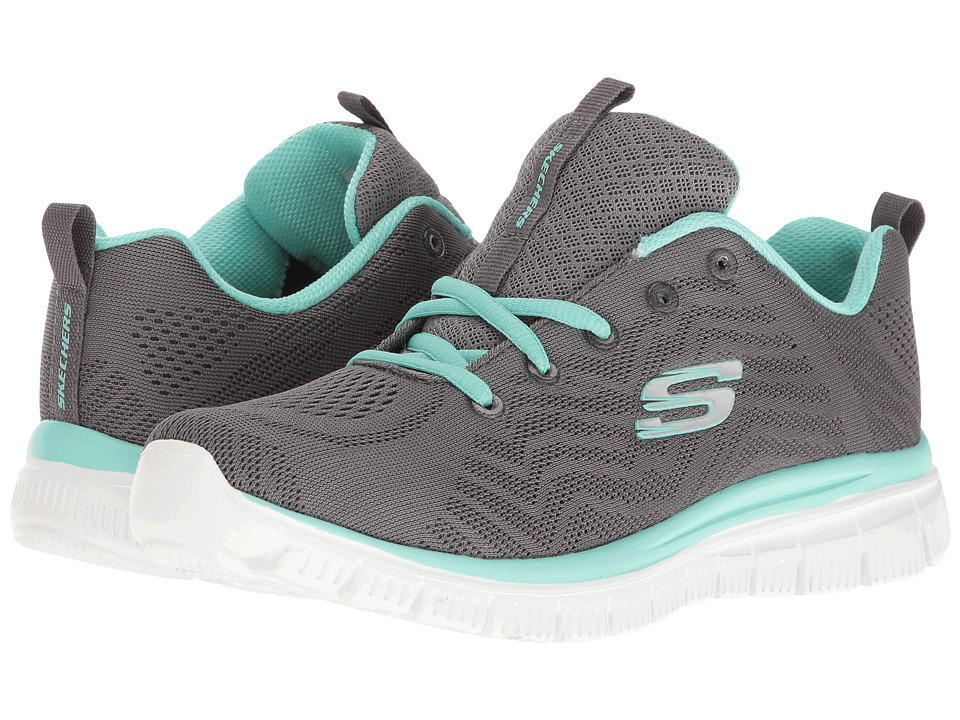 SKECHERS - Graceful (Gray/Green) Women's Lace up casual Shoes