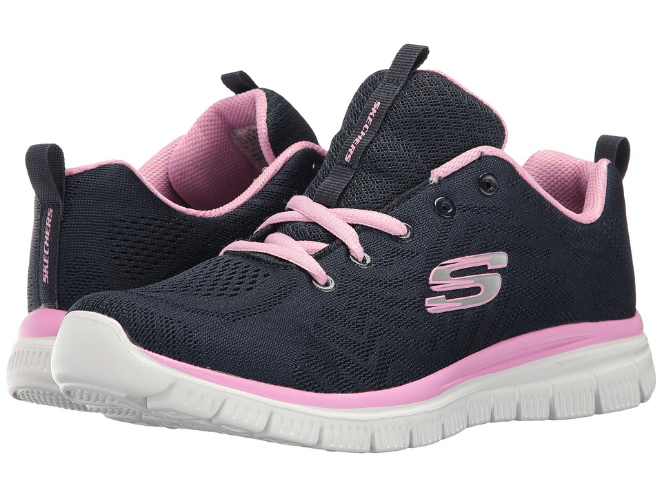 SKECHERS - Graceful (Navy/Pink) Women's Lace up casual Shoes
