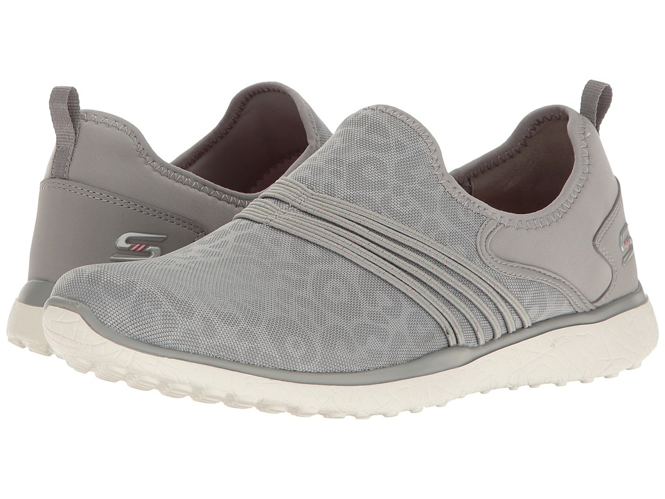 SKECHERS - Microburst - Under Wraps (Gray) Women's Slip on Shoes