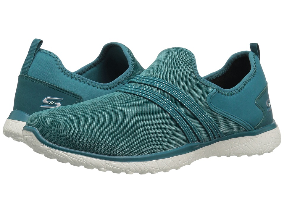 SKECHERS - Microburst - Under Wraps (Teal) Women's Slip on Shoes