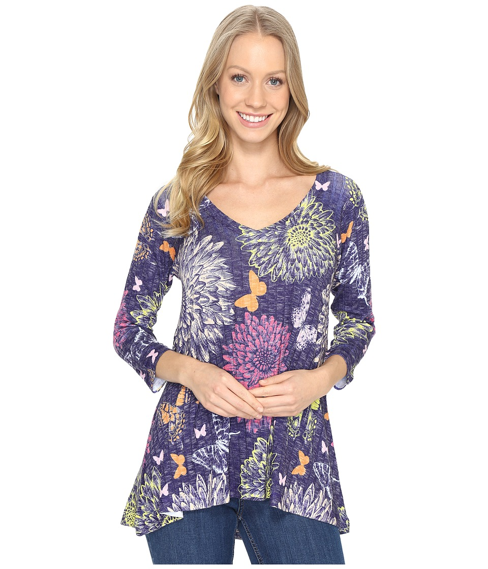 Nally & Millie - Purple Butterfly Floral Tunic (Multi) Women's Clothing
