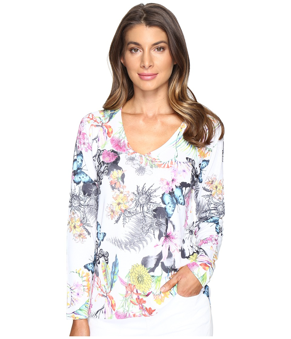 Nally & Millie - Butterfly Floral V-Neck Top (Multi) Women's Clothing