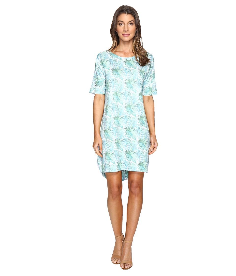 Nally & Millie Tropical Leaf Elbow Sleeve Dress (Multi) Women