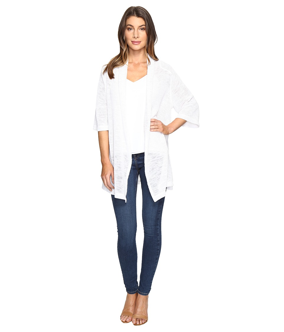 Nally & Millie - Wide Sleeve Cardigan with Back Pleat (White) Women's Sweater