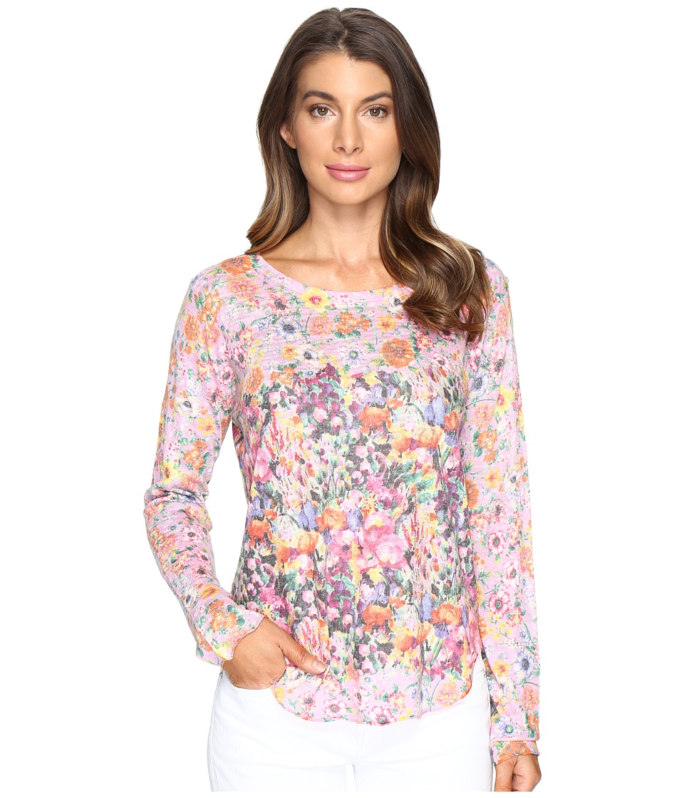 Nally & Millie - Pink Floral Border Top (Multi) Women's Clothing