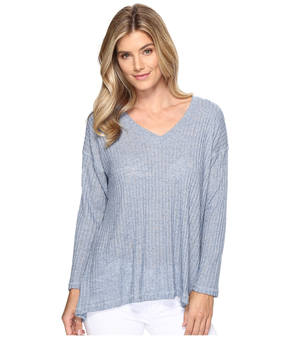 Nally & Millie - Textured V-Neck Ribbed Top (Denim) Women's Clothing
