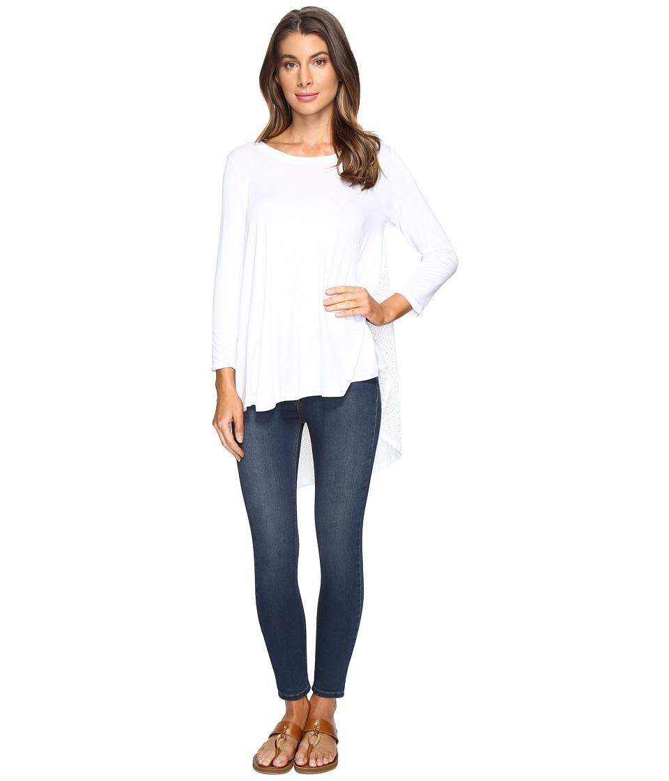 Nally & Millie - Eyelet Lace Tunic with Back Pleat (White) Women's Clothing