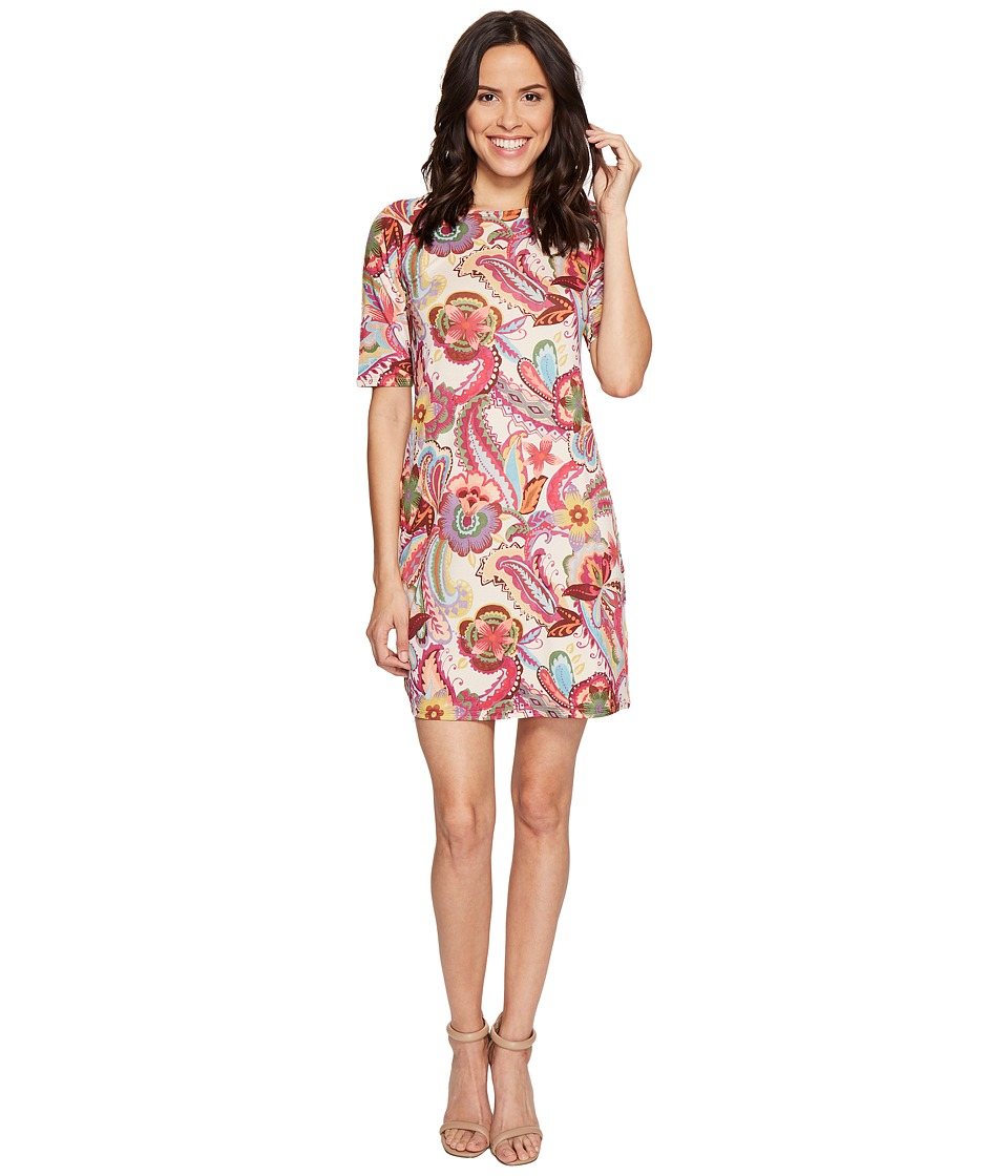 Nally & Millie Paisley Printed Elbow Sleeve Dress (Multi) Women
