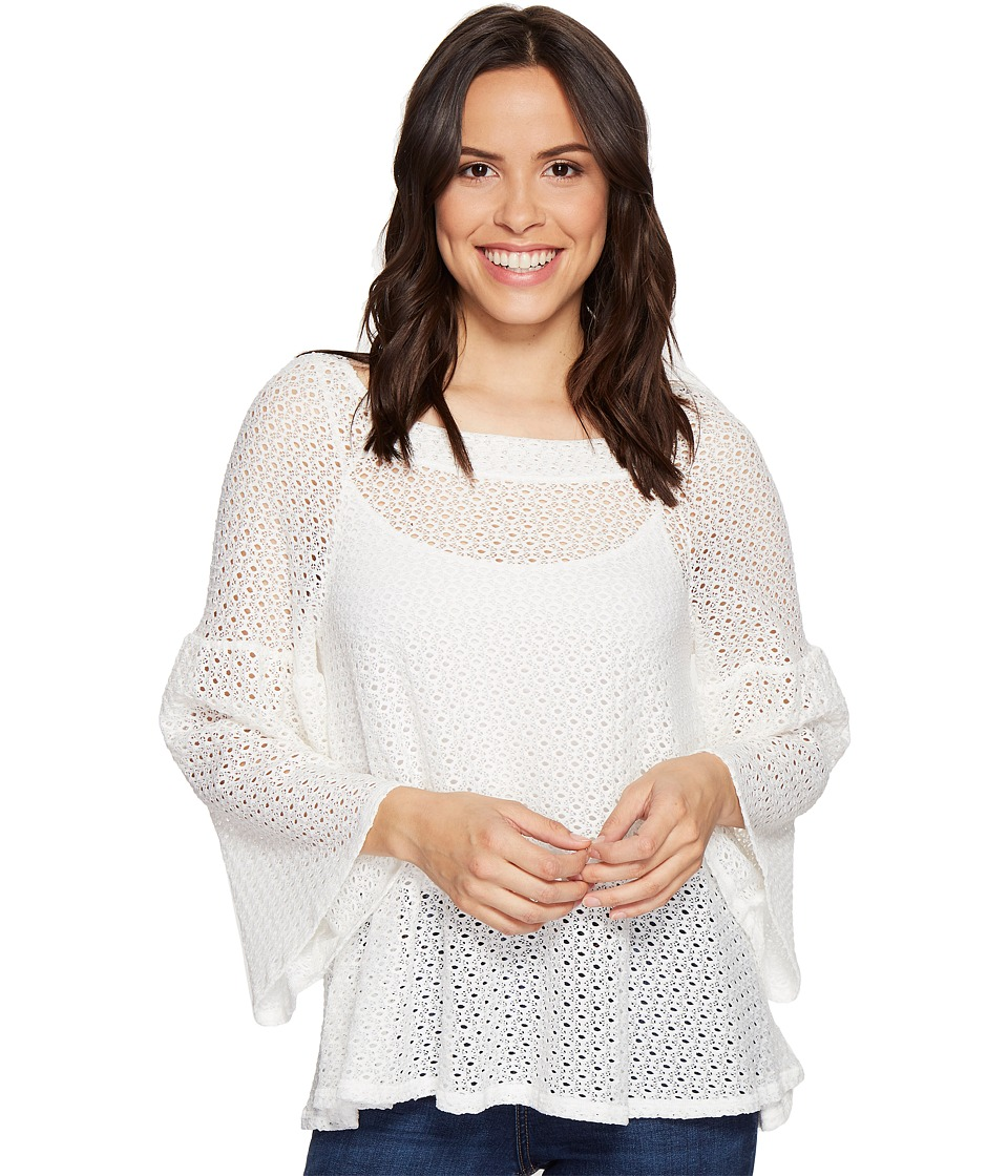 Nally & Millie Bell Sleeve Lace Top (White) Women