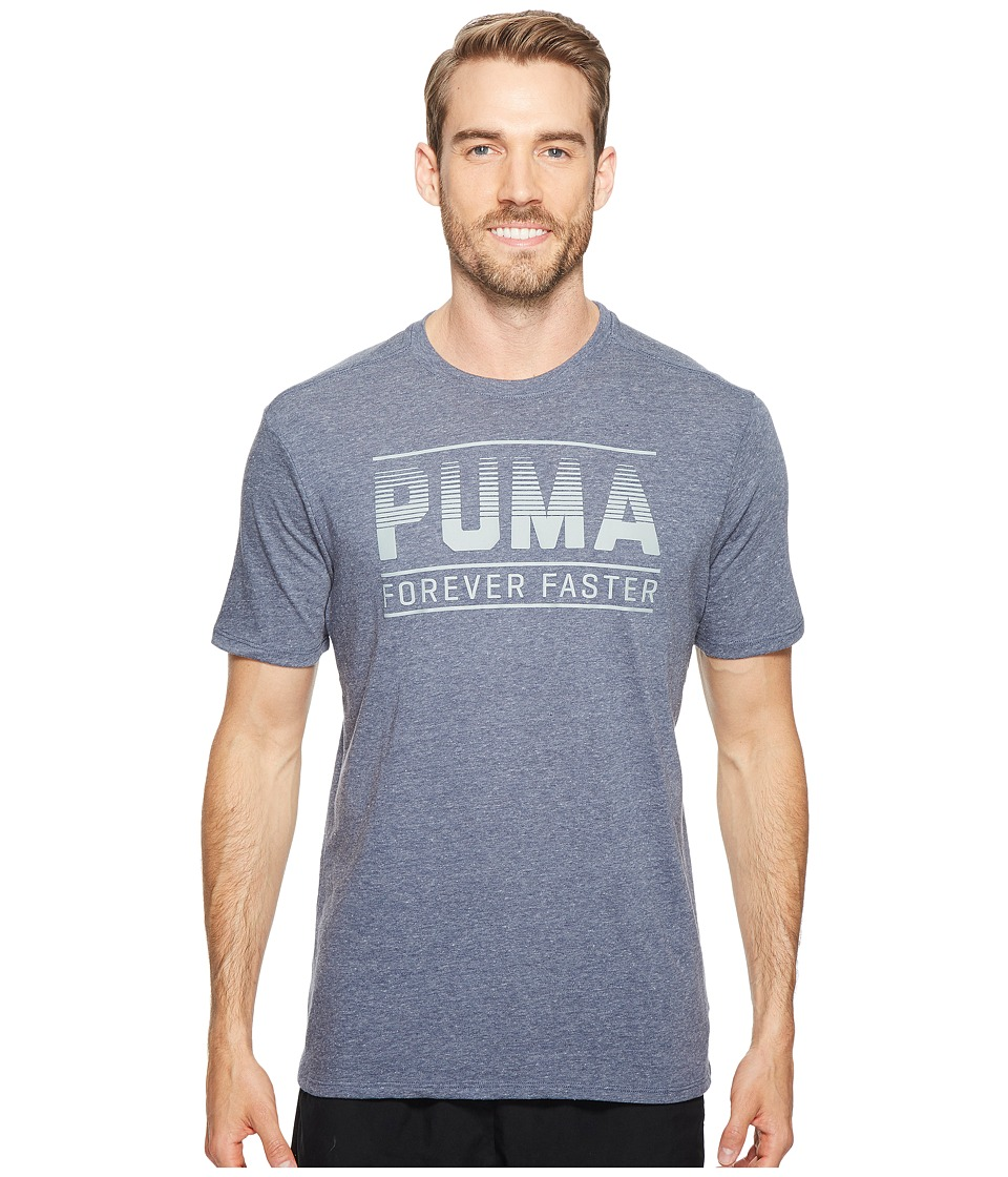 PUMA Forever Faster Bar Graphic Tee (Peacoat Heather) Men