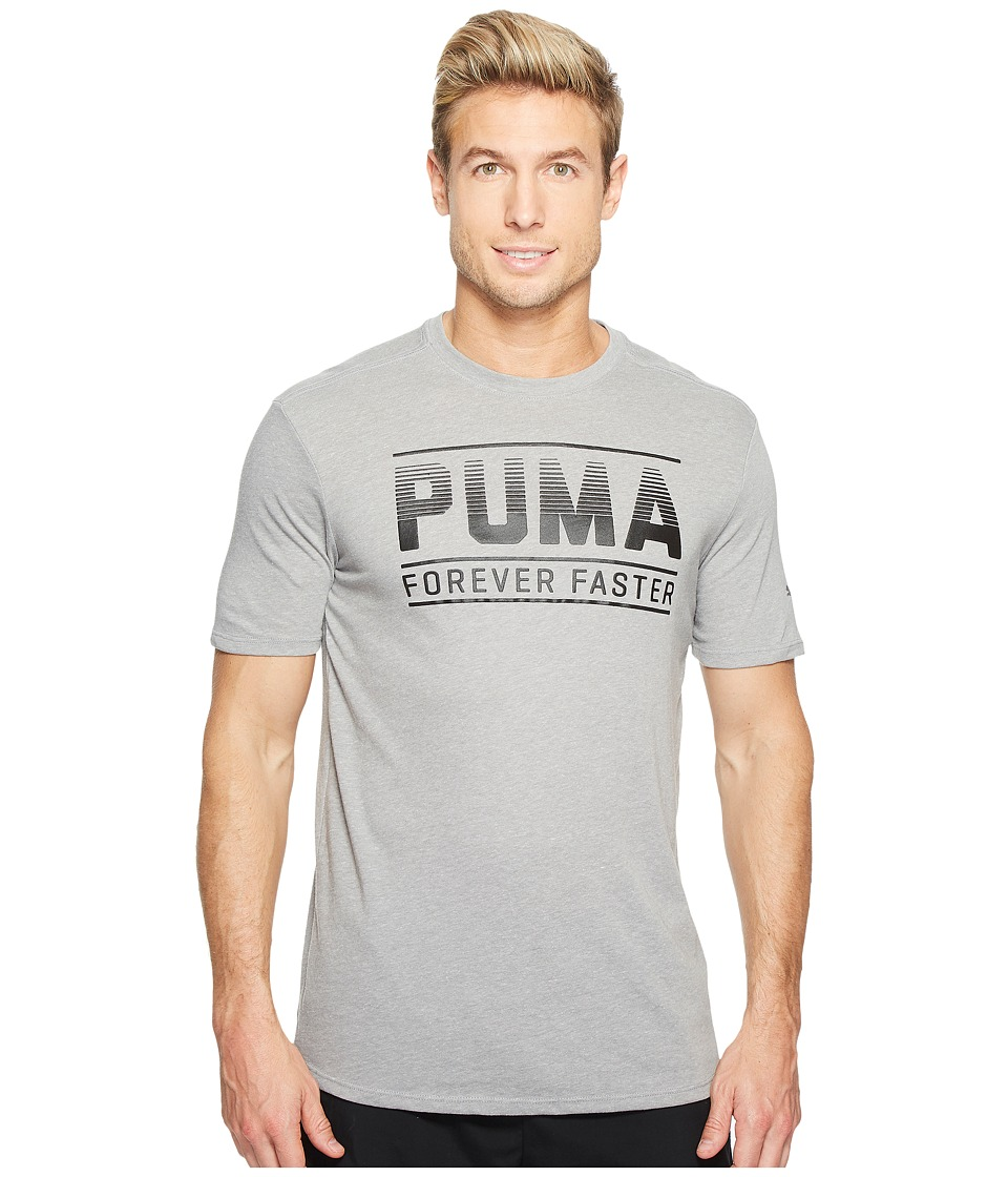 PUMA - Forever Faster Bar Graphic Tee (Medium Gray Heather/Black) Men's T Shirt