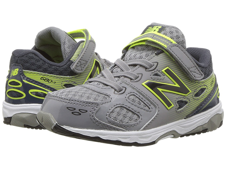 New Balance Kids KA680v3 (Infant/Toddler) (Grey/Hi-Lite) Boys Shoes