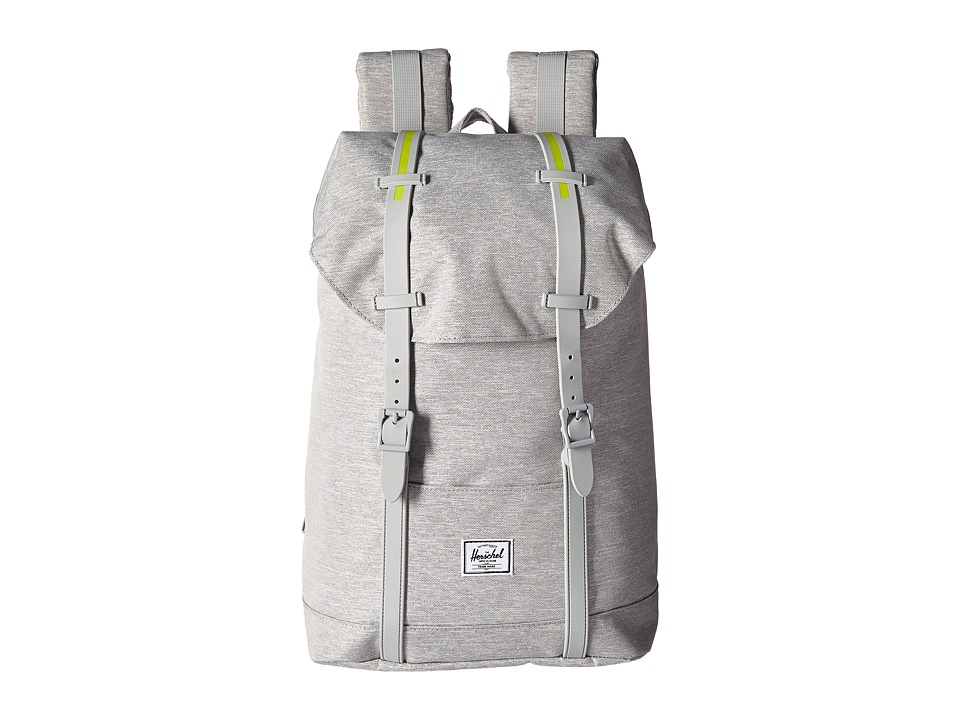 Herschel Supply Co. - Retreat Mid-Volume (Light Grey Crosshatch/Light Grey Rubber/Acid Lime Insert) Backpack Bags
