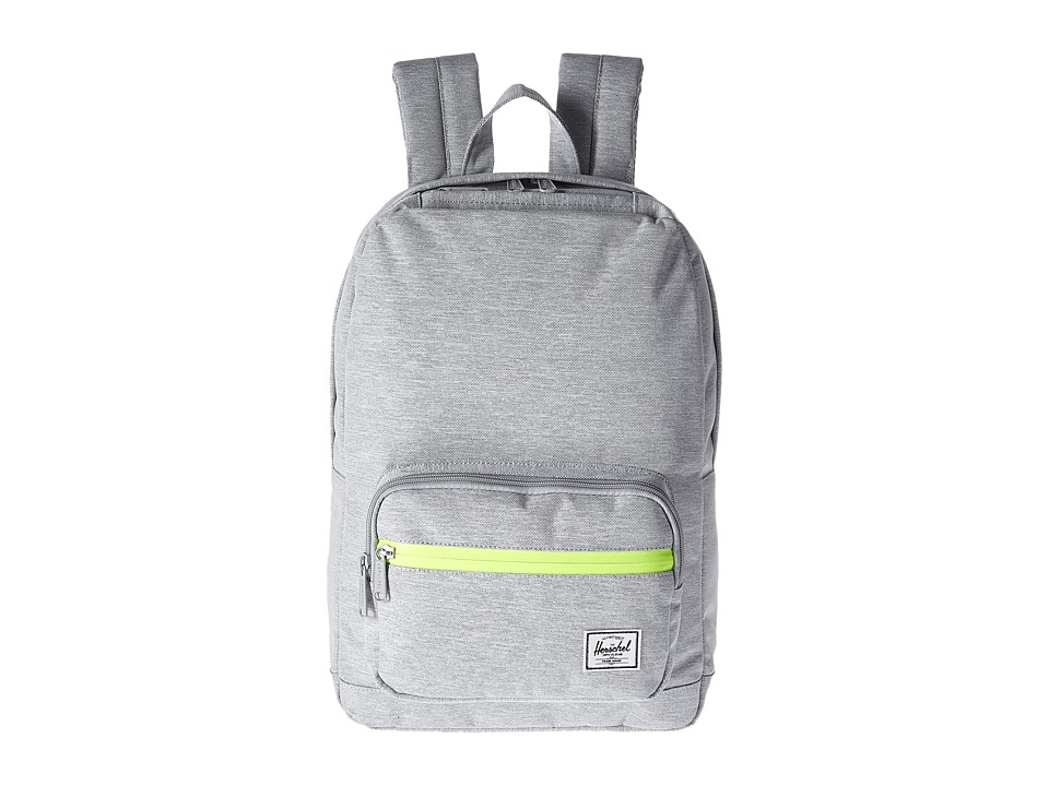 Herschel Supply Co. - Pop Quiz Mid-Volume (Light Grey Crosshatch/Acid Lime Zip) Backpack Bags