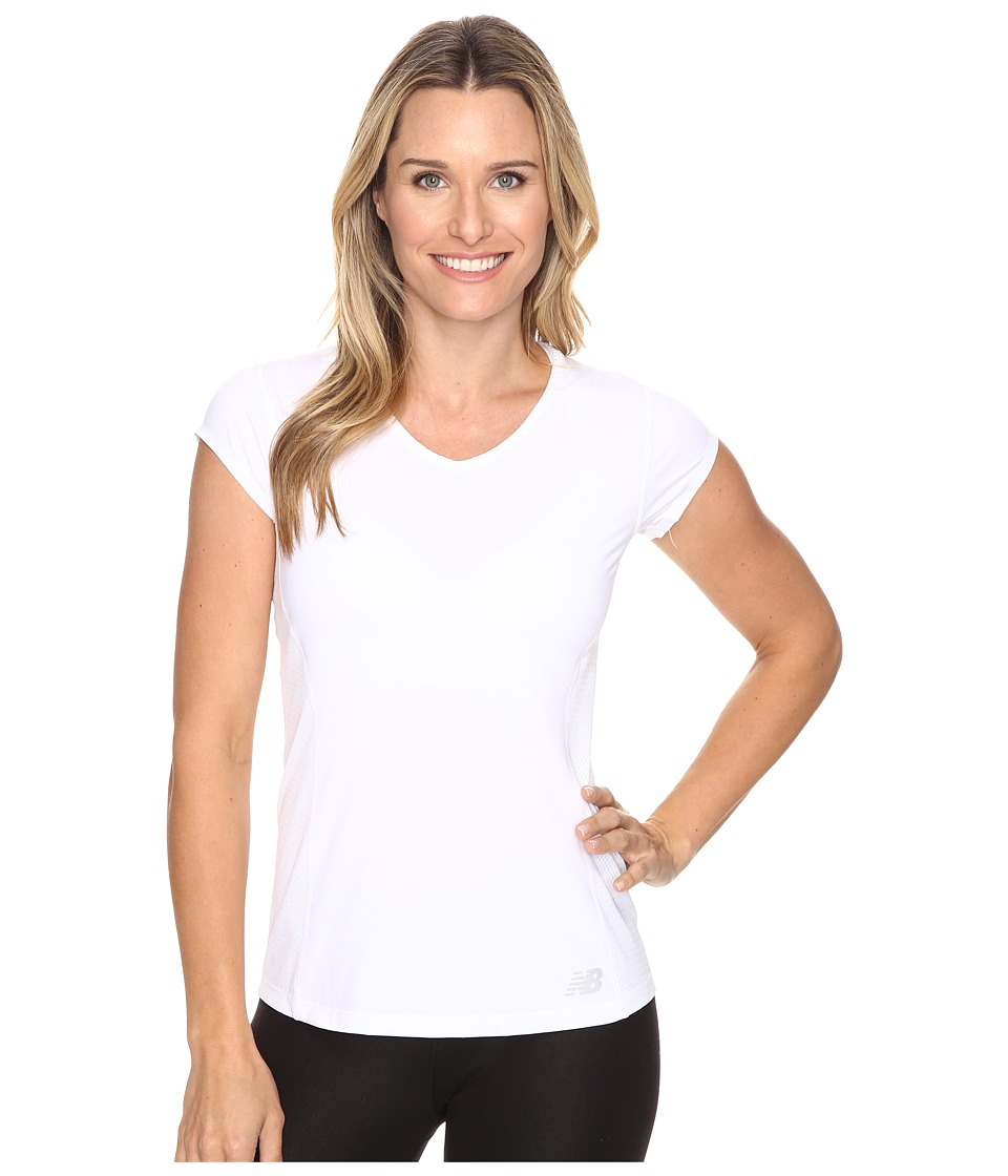 New Balance - Tournament Cap Sleeve Top (White) Women's Short Sleeve Pullover