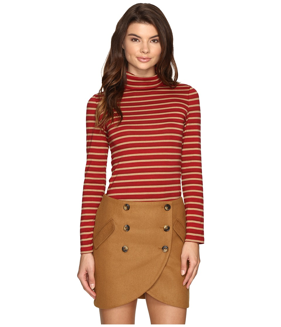LAVEER - Striped Long Sleeve Turtleneck Top (Red) Women's Long Sleeve Pullover